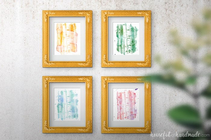 I love these free printables! Decorate your home with non-traditional fall colors this year. These printable watercolor aspen tree art prints are perfect for instant decor. Housefulofhandmade.com