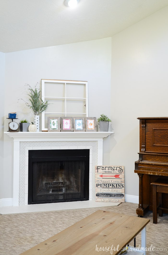 Create a stunning fall mantel by layering your favorite upcycled pieces. Get all the details for this rustic mantel at Housefulofhandmade.com