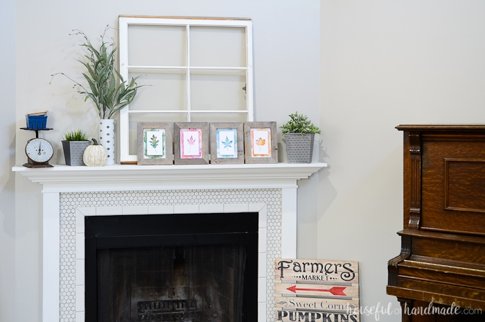 Fill your mantel with your favorite thrift store finds and upcycled DIY projects to create the perfect Rustic Upcycled Fall Mantel. Housefulofhandmade.com