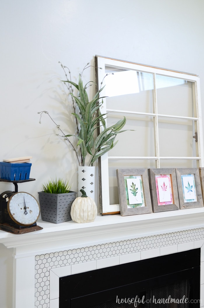 Welcome in cooler weather with this rustic upcycled fall mantel. Learn how to decorate your mantel on a budget by making the old new again. Housefulofhandmade.com