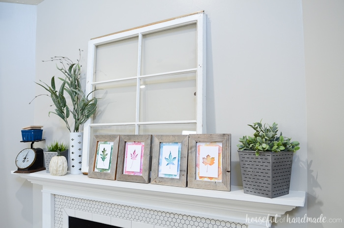 Reclaimed wood picture frames and an old window are the centerpiece for this beautiful rustic fall mantel. Housefulofhandmade.com