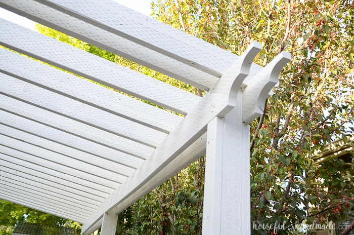 Learn how to build a patio attached to the house to create an outdoor dining and kitchen area. Housefulofhandmade.com