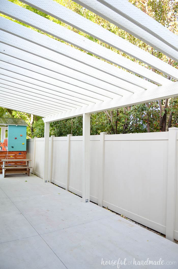 A patio pergola is the perfect way to define an outdoor space. See how we built a DIY pergola. Housefulofhandmade.com