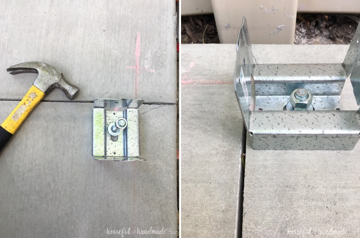 How to attach post bases to concrete for a patio pergola. Housefulofhandmade.com