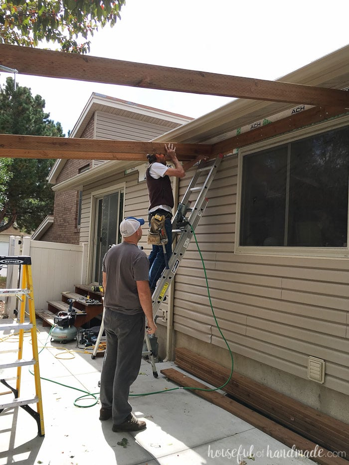 Building a pergola attached to the house. How to attach cross beams to the  header - Build A Patio Pergola Attached To The House - Page 2 Of 2 - Houseful