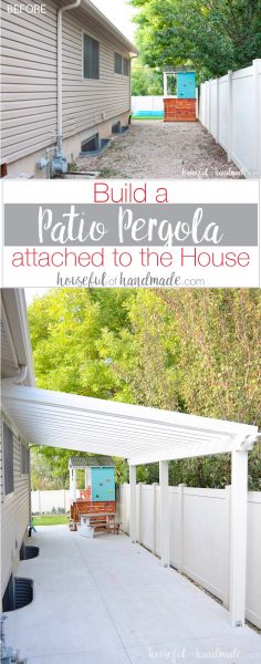A patio pergola attached to the house is the perfect way to define an outdoor space. And you can build one on a budget in a weekend. See how we built a DIY pergola. Housefulofhandmade.com