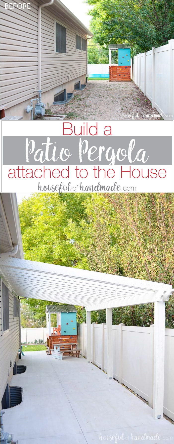 a patio pergola attached to the house is the perfect way to define an outdoor space - Build A Patio