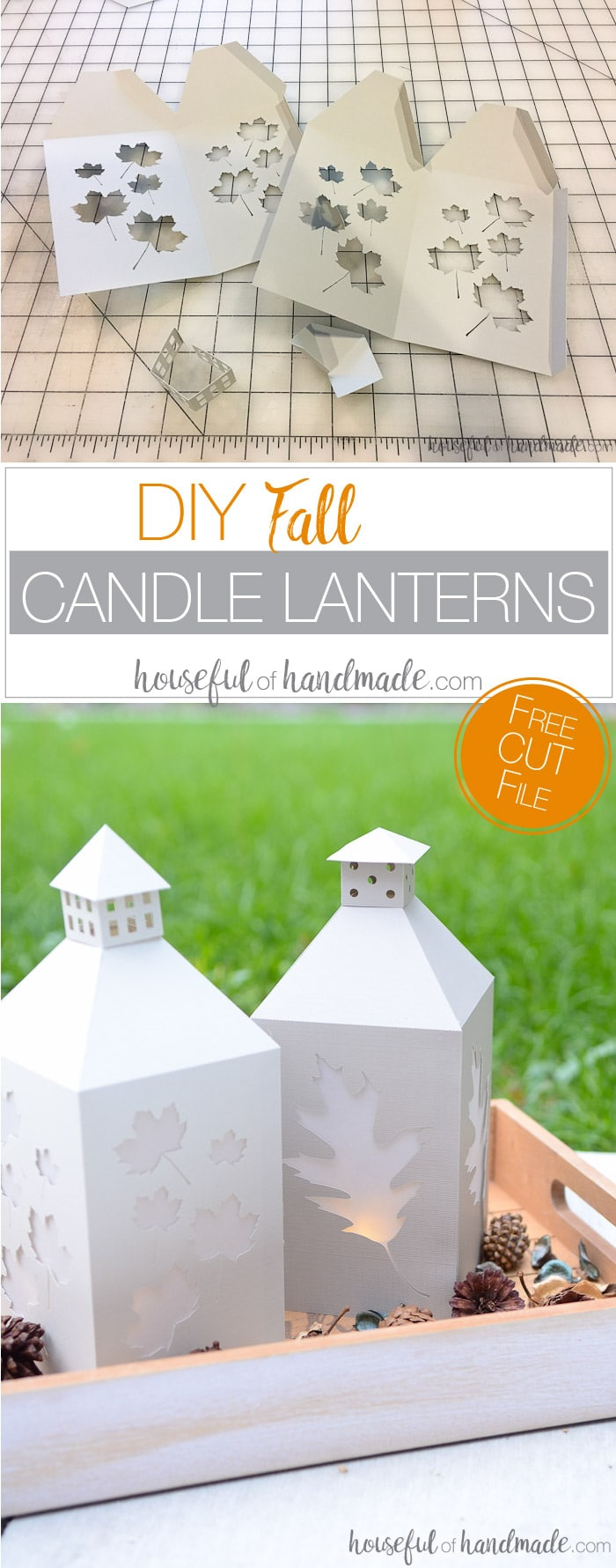 Need a quick fall decorating idea? These easy fall candle lanterns are perfect for adding a touch of autumn warmth to any room. Get the free cut file at Housefulofhandmade.com