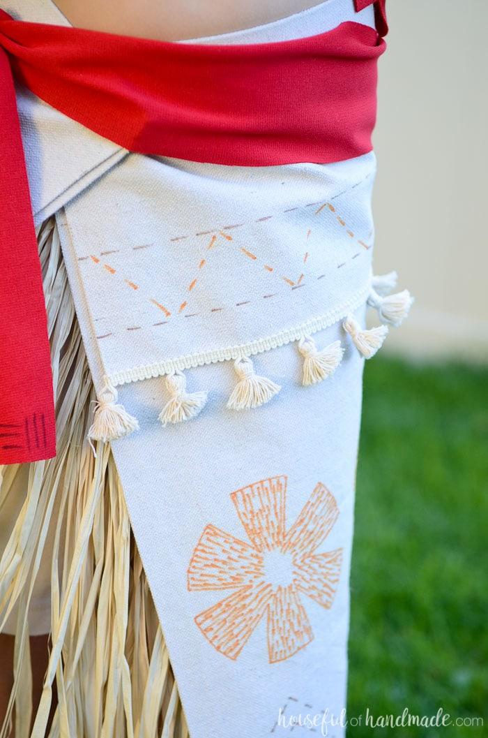 DIY Moana skirt with red sash.