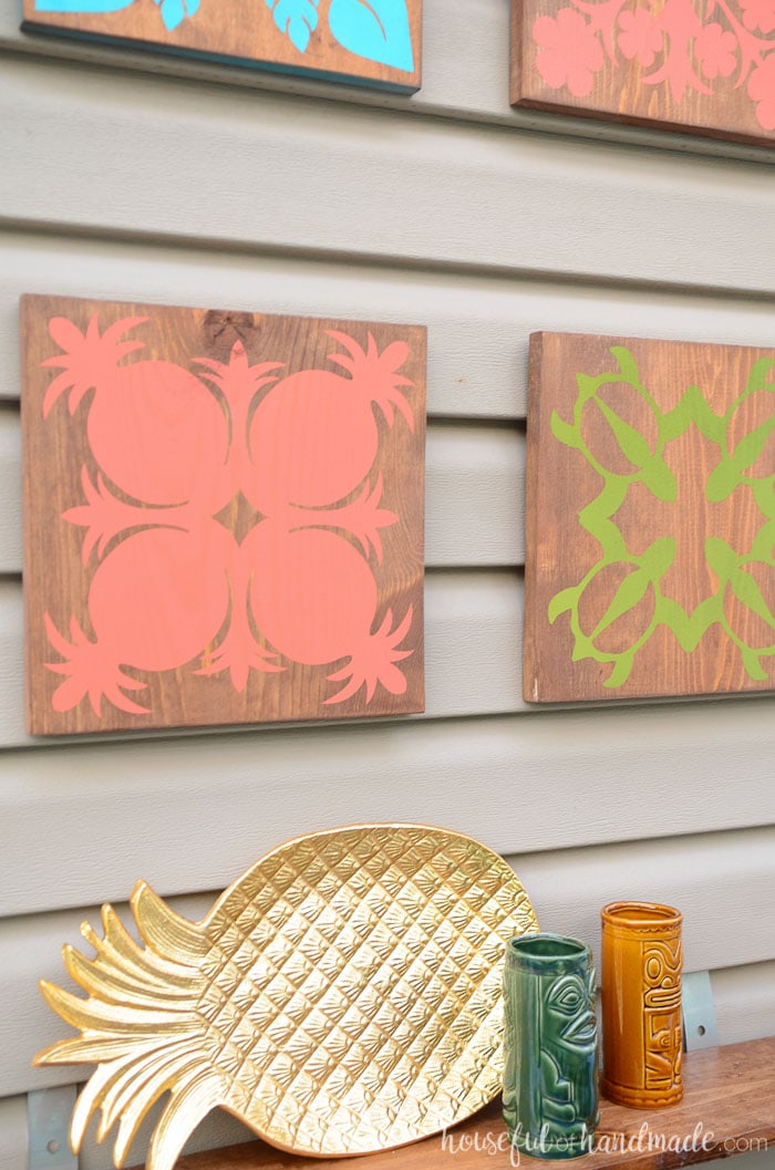 If you love all things pineapple, you have to check out this easy tropical wall art. Hawaiian quilt block designs make the perfect tropical oasis decor. Housefulofhandmade.com