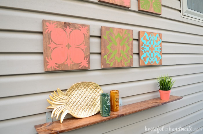 Fill up your outdoor wall space with this easy tropical wall art DIY. Perfect for creating a tropical oasis in your backyard. Housefulofhandmade.com