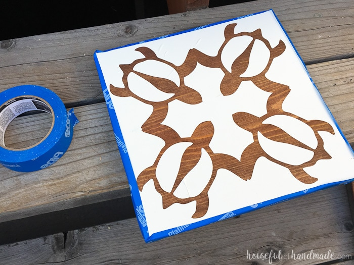Use these easy stencil tips to make beautiful tropical wall art. Housefulofhandmade.com