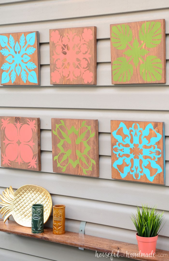 Create beautiful tropical wall art in just a few easy steps to turn your home or patio into a tropical oasis. This tropical art is inspired by Hawaiian quilting techniques. Housefulofhandmade.com