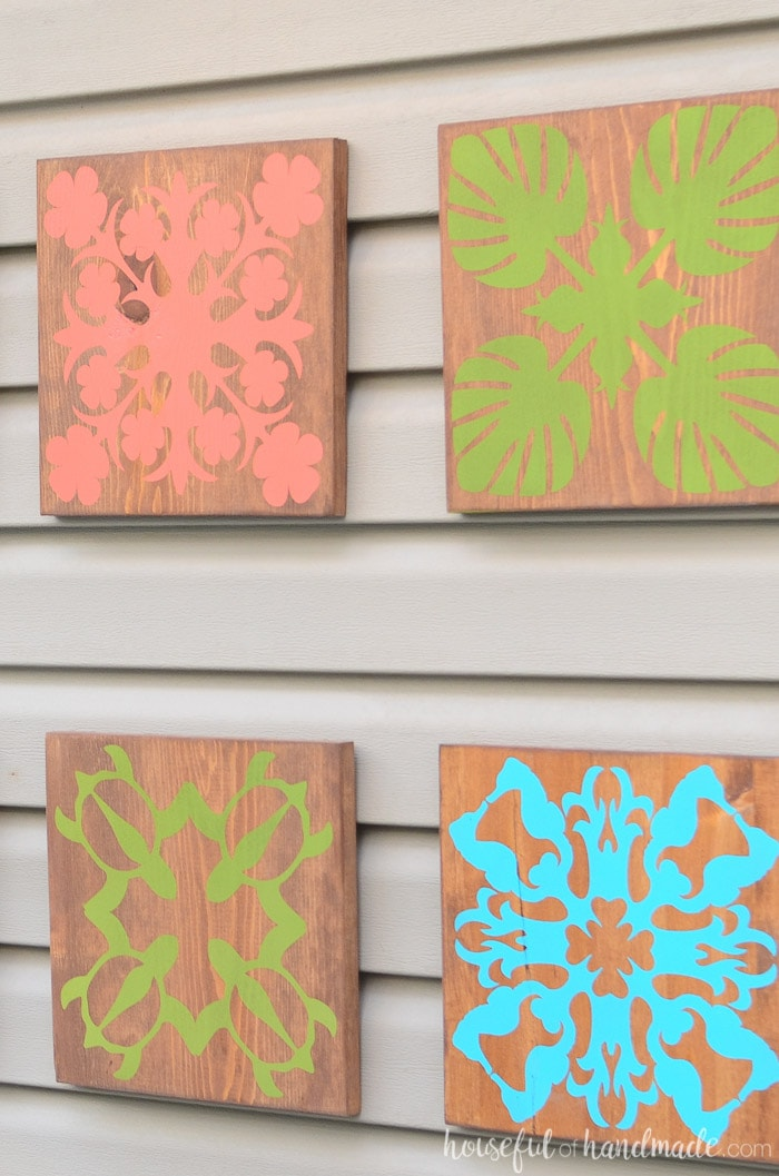 I love this tropical wall art inspired by Hawaiian quilt blocks. It's so easy to make. Housefulofhandmade.com