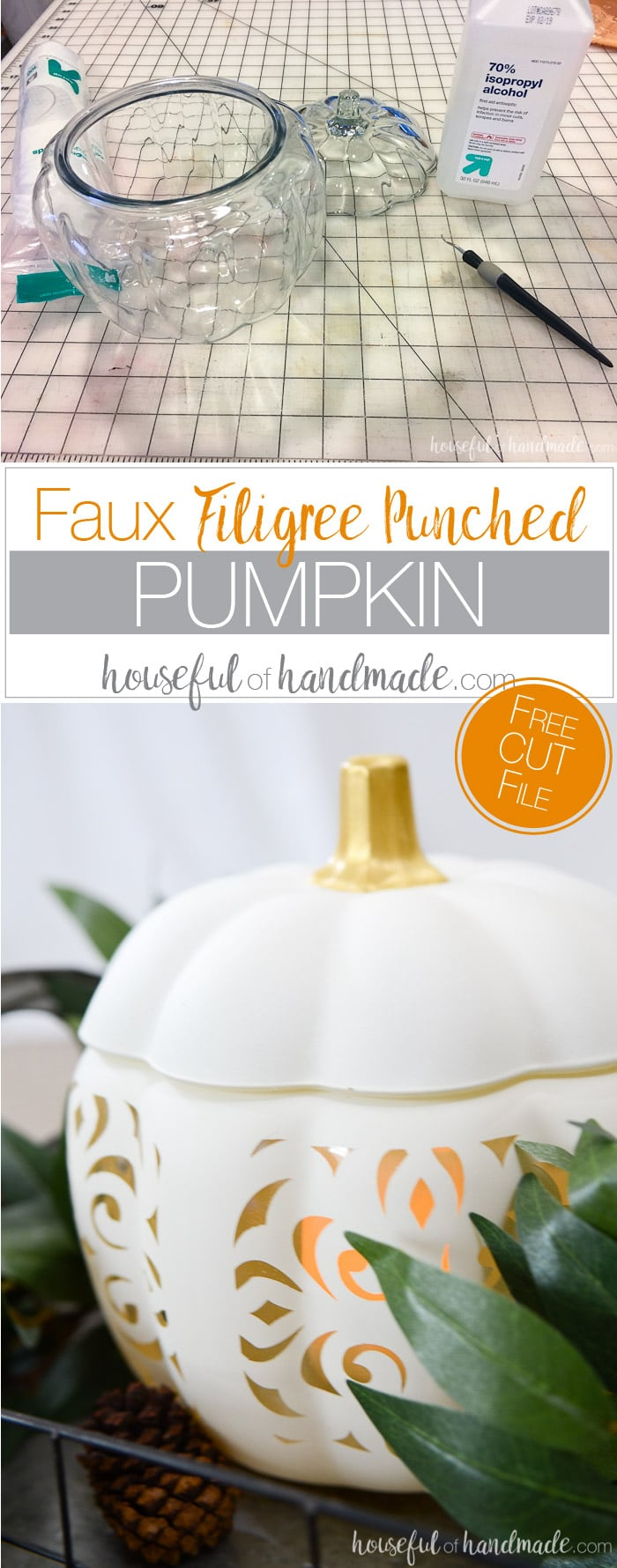 Turn an inexpensive glass pumpkin into a Pottery Barn inspired piece for fall. This beautiful faux filigree punched pumpkin is easy to DIY and looks expensive! Housefulofhandmade.com