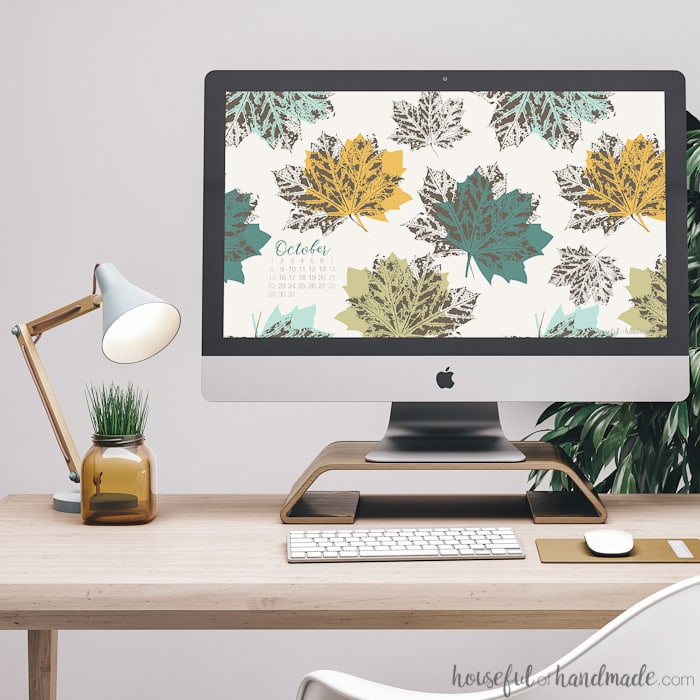 Fall is here and that means downloading new free digital backgrounds for October! This beautiful autumn leaf pattern is the perfect way to celebrate cool weather and changing leaves.