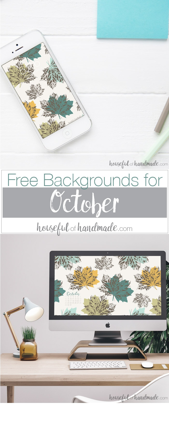 Download these free digital backgrounds for October to decorate your electronics for fall. Includes free digital wallpaper for your computer and smartphone. Housefulofhandmade.com