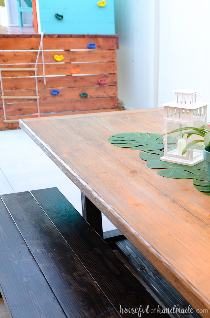 Overhead view of a diy outdoor dining table with build plans
