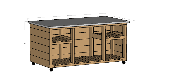 This easy to build outdoor kitchen island is perfect for create an outdoor kitchen next to your barbecue. The free build plans are on Housefulofhandmade.com