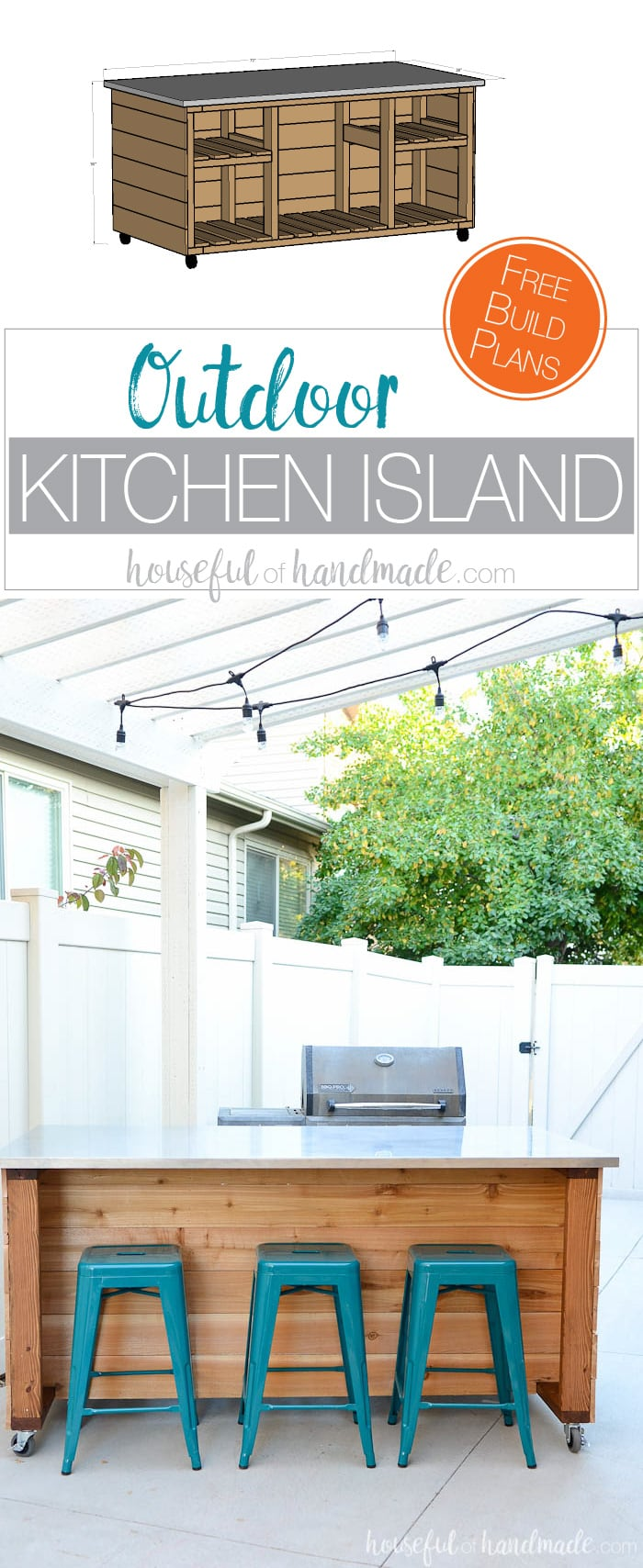 Create the perfect outdoor kitchen area with these outdoor kitchen island build plans. This portable kitchen island will transform your barbecue into a functional outdoor kitchen with this easy to build kitchen island. Housefulofhandmade.com