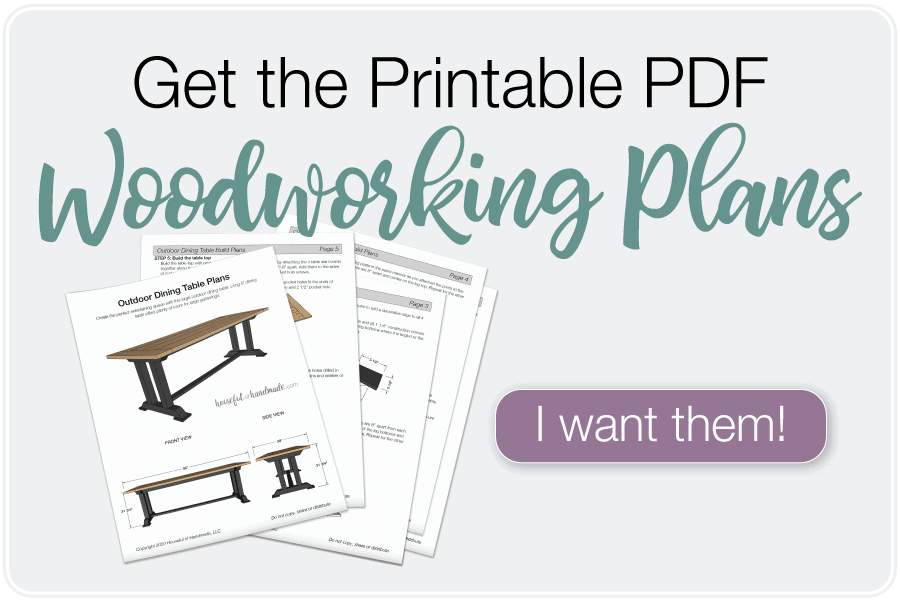Buy button for the PDF woodworking plans for the outdoor dining table.