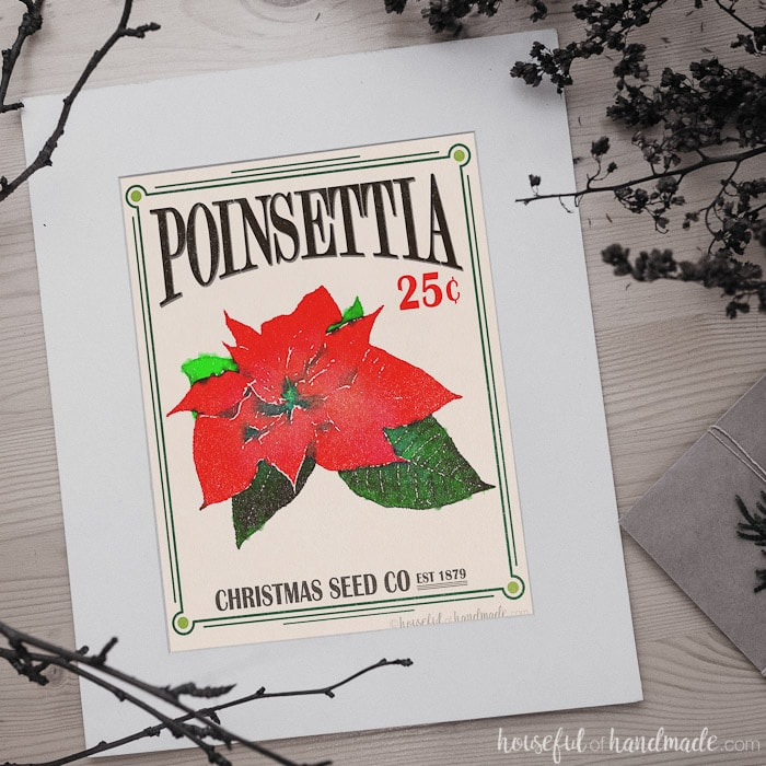 What is Christmas without a little mistletoe and holly or a poinsettia or two? How about adding them to your decor with this vintage Christmas seed packet art. Housefulofhandmade.com