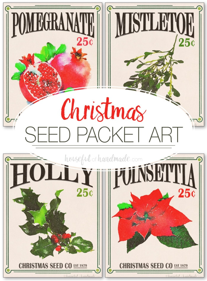 These Christmas Seed Packet Art Printables are the perfect way to add instant festive decor to your home. The free printables of favorite Christmas plants and flowers add vintage holiday charm to any home. Housefulofhandmade.com