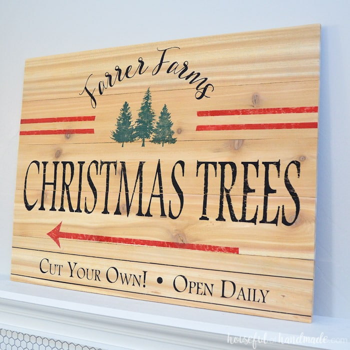 This beautiful Christmas tree farm sign is perfect for a holiday mantel. Get the free build plans and free cut file from Housefulofhandmade.com