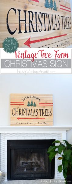 Build a farmhouse Christmas sign with just a few inexpensive cedar fence pickets. This easy DIY Christmas tree farm sign is the perfect easy holiday decor idea. Get the free build plans and free cut file from Housefulofhandmade.com.