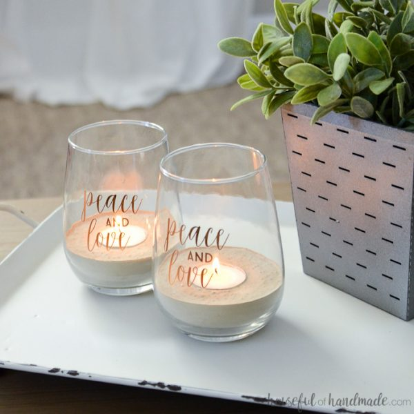 Turn old jars or glasses into beautiful tea light holders. These can easily be made for any season. Housefulofhandmade.com