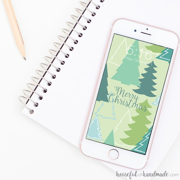 Turn your screens into Christmas decor with these fun free digital backgrounds for December. I love this modern Christmas tree pattern. Housefulofhandmade.com