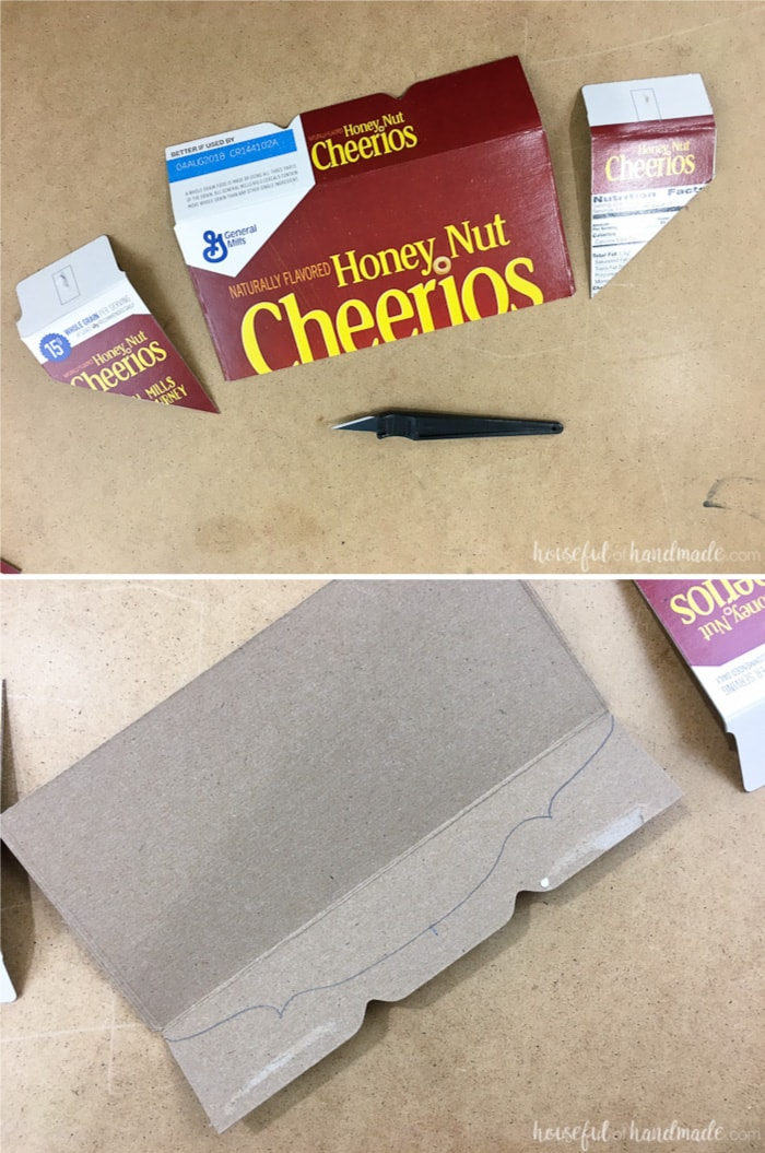 empty cereal box cut in four pieces