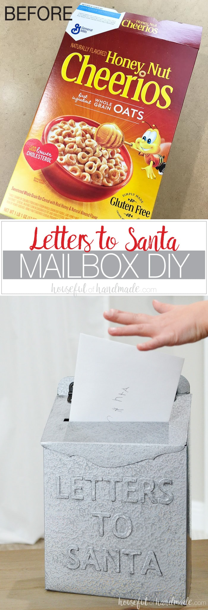 Create a faux metal Letters to Santa mailbox for Christmas with this amazing upcycle. Inspired by the Hearth & Hand line, turn an empty cereal box into a vintage Christmas mailbox. Perfect budget Christmas decor idea! Housefulofhandmade.com