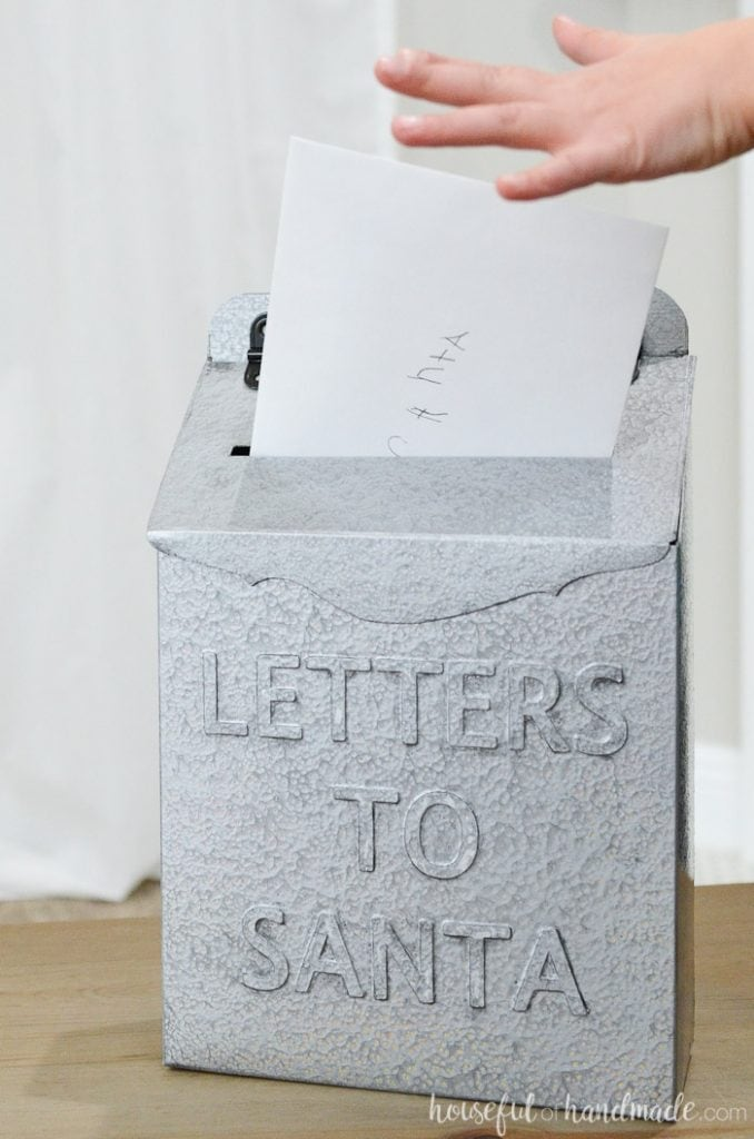DIY Letters to Santa mailbox made from an old cereal box but looks like metal.