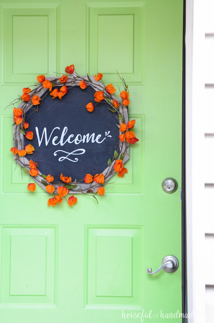 Make a framed chalkboard into a beautiful wreath for fall. I love that you can change out the message for every season. Housefulofhandmade.com