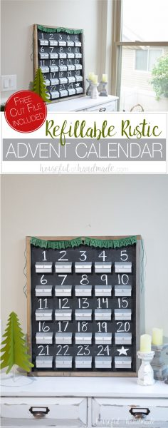Make a beautiful refillable rustic advent calendar to countdown to Christmas this year. This chalkboard advent calendar is the perfect farmhouse Christmas decor. You can fill your own advent calendar with anything you want. Create these paper advent calendar boxes with the free cut file and get ready to countdown to Christmas. Housefulofhandmade.com