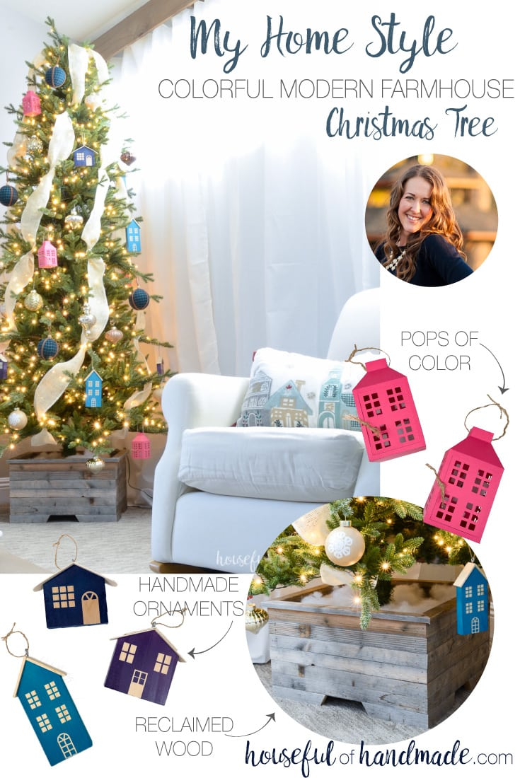 Get ready for Christmas with a virtual Christmas tree show! See our colorful farmhouse Christmas tree and check out the rest of the beautiful Christmas trees that are shared. Lots of DIY elements for the perfect homemade Christmas. Housefulofhandmade.com