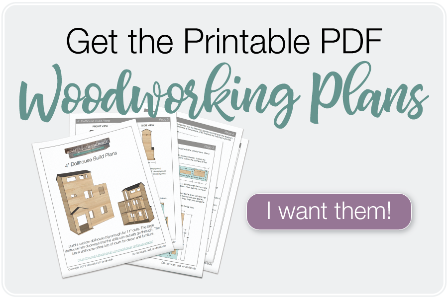 Picture of the printable PDF woodworking plans for a dollhouse and a button to purchase them.