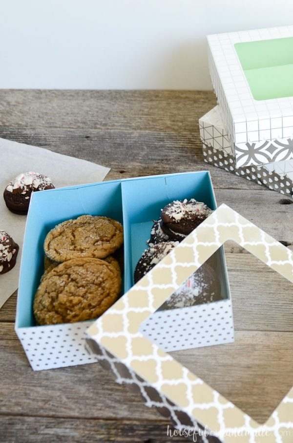 Give the gift of fresh baked goodies with these easy cookie gift boxes. These paper treat boxes are quick to make so you will be ready to deliver your homemade gifts in no time. Includes a free cut file and PDF template. Housefulofhandmade.com