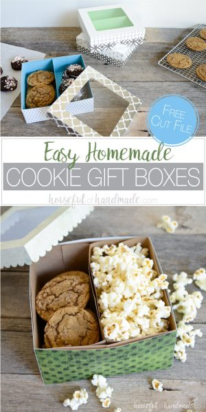 Give the gift of homemade goodies with these easy cookie gift boxes. These paper treat boxes are super quick to make so you will be ready to deliver your homemade gifts in no time. Includes a free cut file and PDF template.