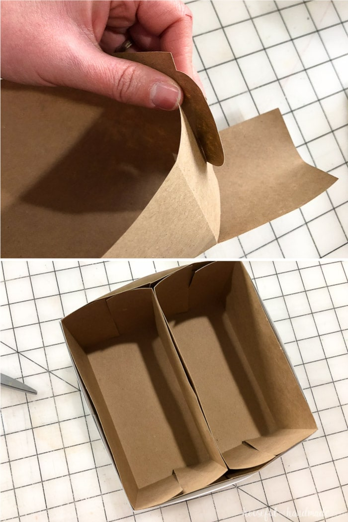 Fold together the inner compartments of the cookie gift boxes without glue. Housefulofhandmade.com
