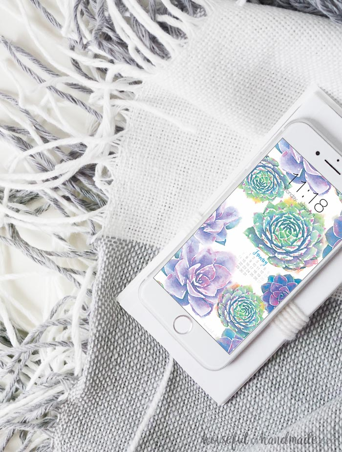 Stay organized with a beautiful digital wallpaper for your phone that also has a calendar on it. These purple succulents are beautiful. Housefulofhandmade.com