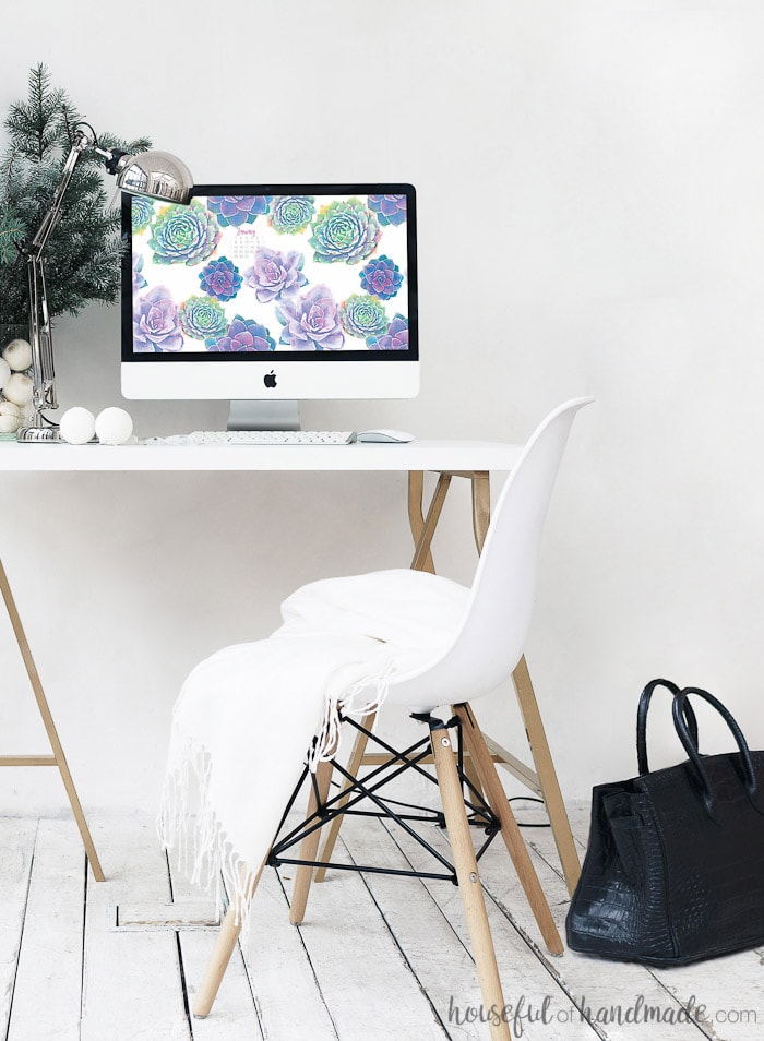Decorate your screens for the New Year with these free digital backgrounds for January. This beautiful watercolor succulent print will help you forget it is winter. Both desktop and smartphone backgrounds come with or without this month's calendar. Housefulofhandmade.com