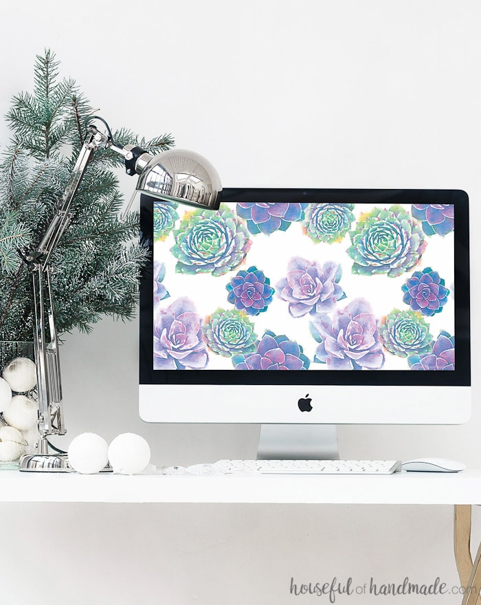 Download this free digital wallpaper for your computer. I love the watercolor succulent print. Housefulofhandmade.com