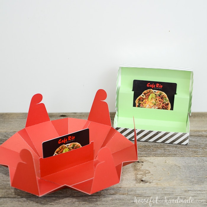 Red hexagon gift card box and green striped rectangular gift card box.