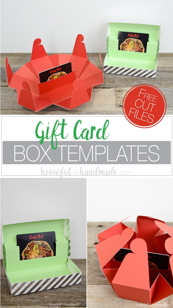 A gift card box is the perfect way to wrap a gift card. Don't let it get lost under the tree in a tiny gift card envelope, instead make a statement with these unique gift card holders. And they are super easy to make with the free cut files and templates! Housefulofhandmade.com