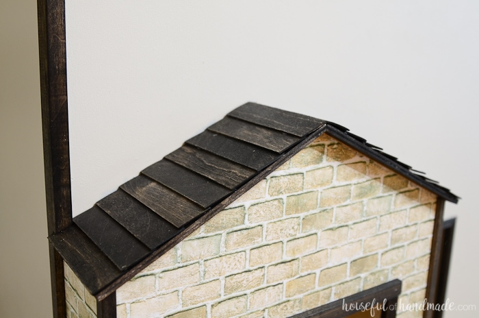 Decorate the exterior of the handmade dollhouse with these easy shingles. Housefulofhandmade.com