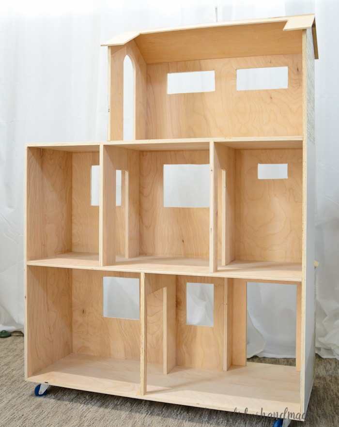 Handmade dollhouse made out of plywood. Housefulofhandmade.com