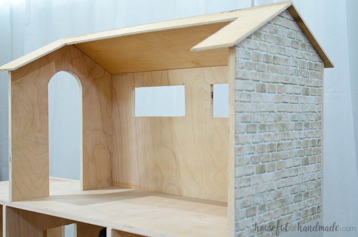 back view of plywood handmade dollhouse