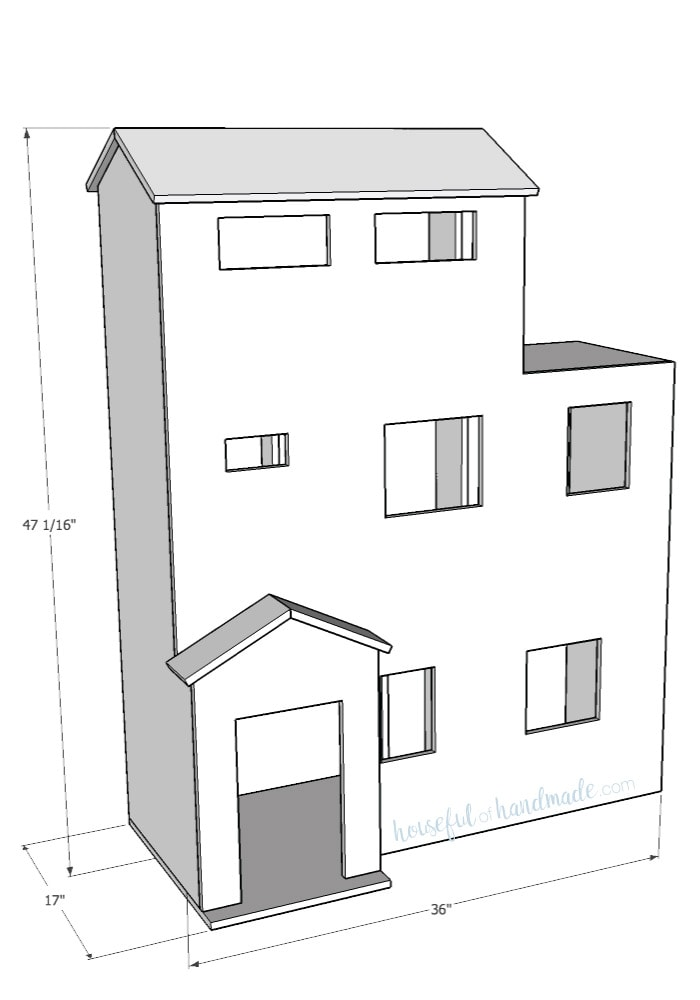 Free build plans front view of handmade dollhouse